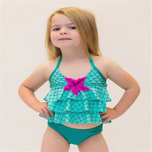 Baby Girls Halter Bikini Set Mermaid Green Flouncing Doubledeck Green Kids Swimsuit Swimming 2pcs Suits Bathing Suit Costume