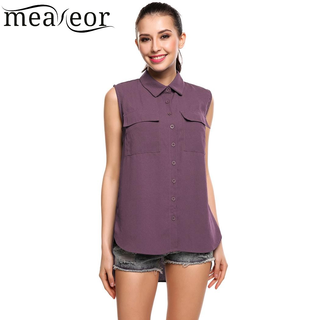 22820d58cf92 Meaneor Women Casual Summer Solid Sleeveless Button Down Chiffon Blouse  Tank Shirt 2018 Summer New Ladies Fashion Tank Shirt-in Blouses & Shirts  from ...
