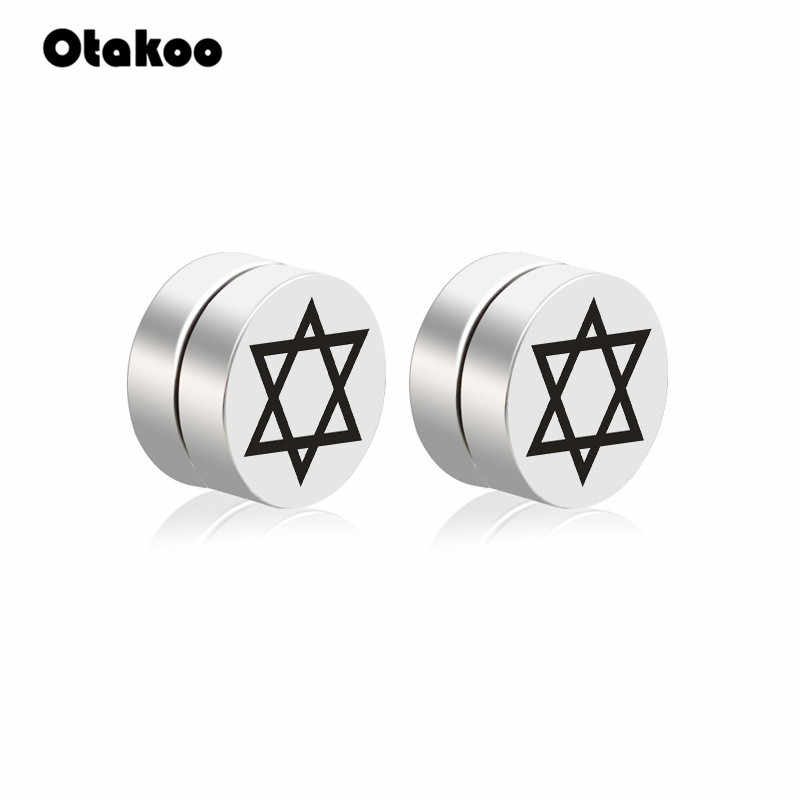 Otakoo แม่เหล็ก Judaism David Star ต่างหูสำหรับผู้ชาย 316l สแตนเลสสตีลเครื่องประดับหูไม่จำเป็นต้อง ear Canal