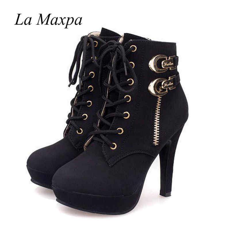 8f864c2c23aa1 ... 2018 New Winter Women Black High Heel Martin Ankle Boots Buckle Gothic  Punk Motorcycle Combat Boots ...