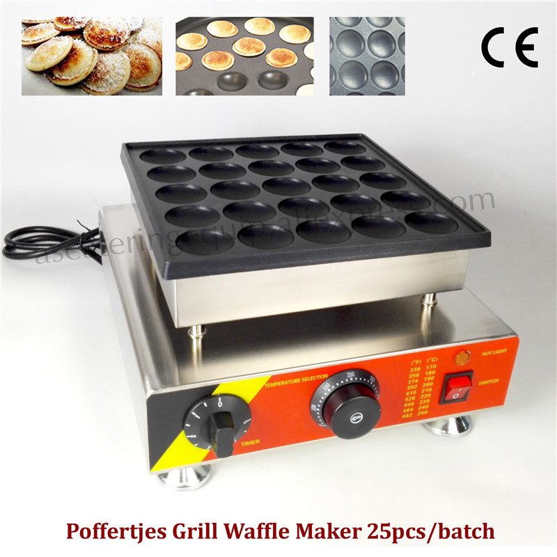 Poffertjes Machine Stainless Steel Small Pancake Machine with Non-stick Pan Poffertjes Grill Waffle Maker 25 pcs Moulds double pans small pancake machine poffertjes machine with non stick pan poffertjes grill waffle maker with 50 pcs moulds