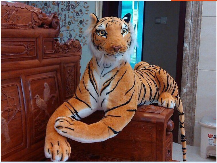 big plush simulaiton tiger toy lovely big yellow tiger doll creative tiger doll gift about 110cm 592 stuffed animal 145cm plush tiger toy about 57 inch simulation tiger doll great gift w014