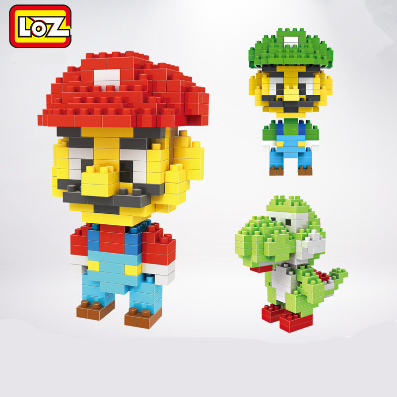 LOZ Blocks Diamond Action Gifts Super Mario Luigi Yoshi Mario 3D DIY Bricks early educational Mini Block Toys loz diamond blocks figuras classic anime figures toys captain football player blocks i block fun toys ideas nano bricks 9548