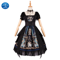 Lolita Maid Sweet Lolita Dress Short Sleeve Dresses Girls JSK Princess Black Dress Tea Party