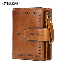RFID Genuine Leather wallet women Vintage Short Zipper & Hasp Organizer Wallets credit Card Holder monederos para mujer new 2019