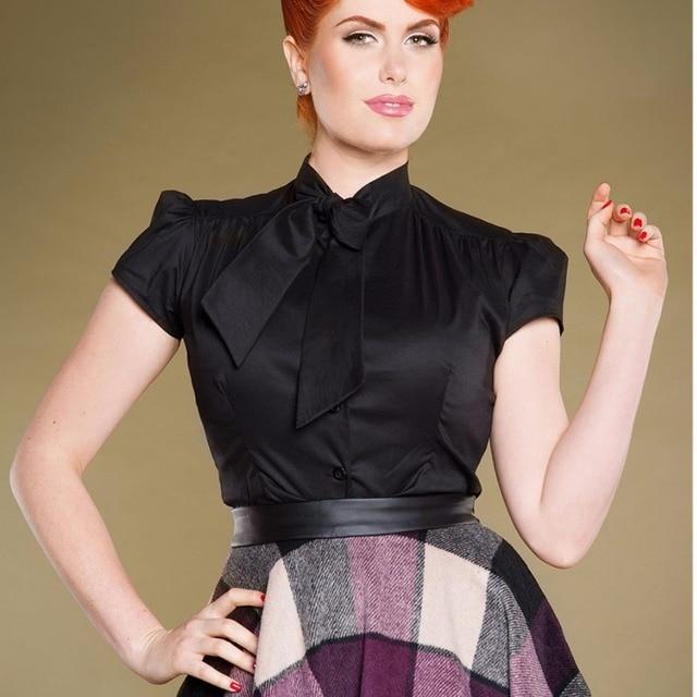 b6e4b1216dd 35- summer women vintage short sleeve estelle top in black plus size cotton  blouse pinup shirts top high neckline with tie