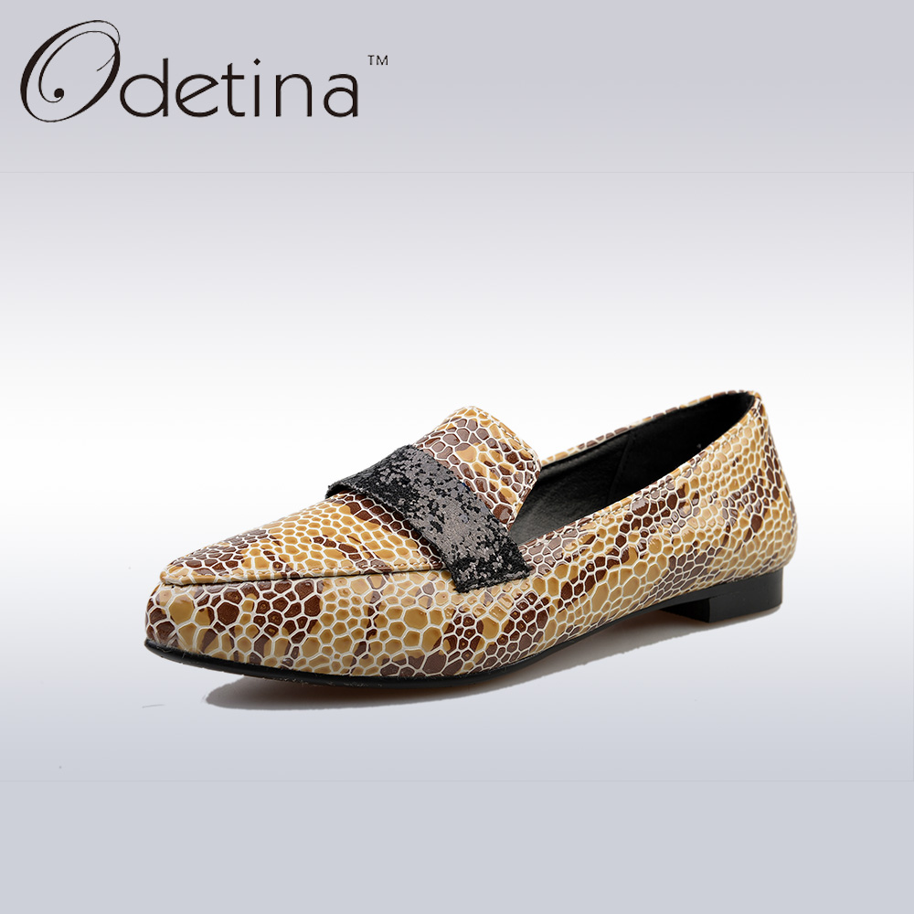 Odetina 2017 Spring Fashion Printed Women Pointed Toe Loafers Black Ladies Slip on Summer Shoes Flat Soft Casual Shoes Non-slip sweet women high quality bowtie pointed toe flock flat shoes women casual summer ladies slip on casual zapatos mujer bt123