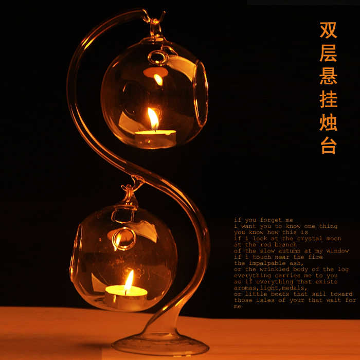 O.RoseLif Romantic Crystal Candle Holder  Fashion Hanging Ball Glass + 1 Glass Stand Candlestick Lighthouse  Wedding Decor
