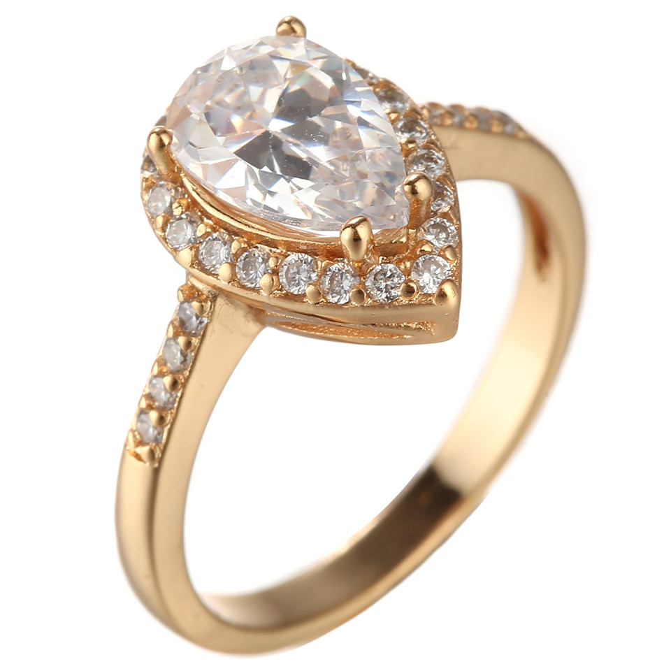 1PCS Anel 2015 Fashion 18K Gold Ladies Engagement Ring Zircon ...