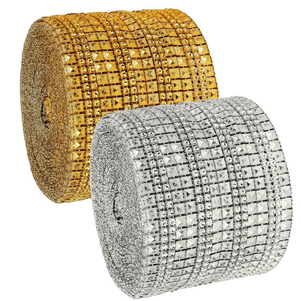 1 Yard Sparkling Rhinestone Diamond Mesh Wrap Crystal Rhinestone Ribbon Wedding Party Accessories Home Decor High Quality
