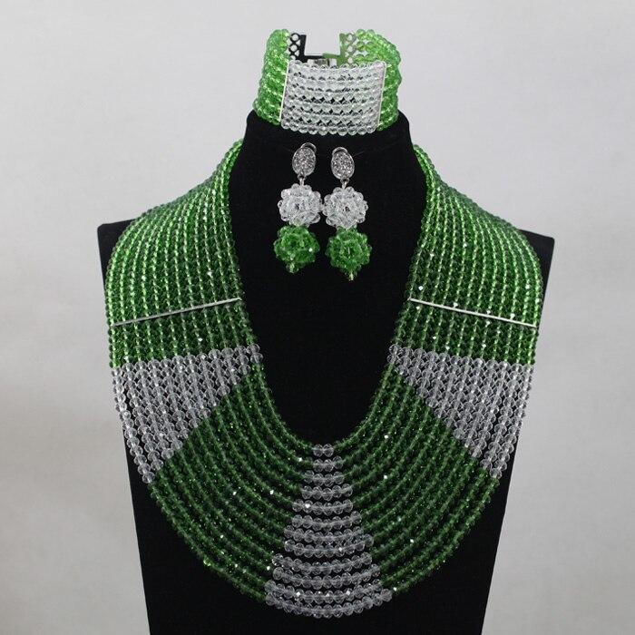 Mode 12 couches clair blanc AB cristal Costume femmes bijoux ensemble vert mariée argent collier ensemble livraison gratuite QW983