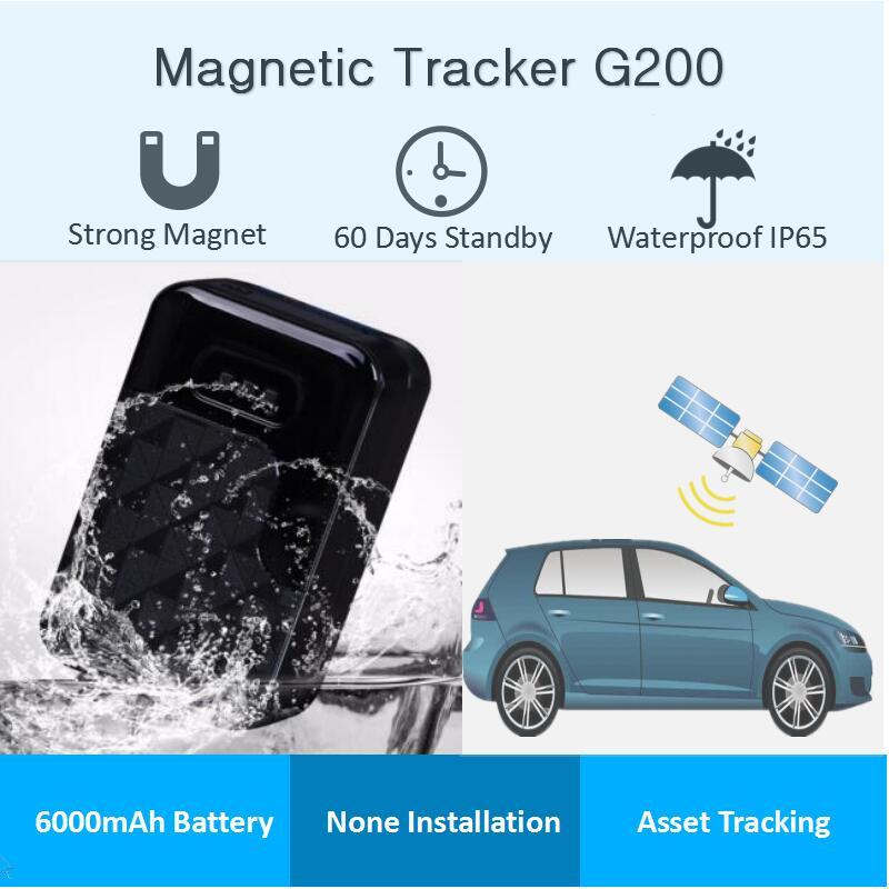Rastreador gps sem fio g200 para carro, super ímã à prova d água, dispositivo localizador gprs, 60 dias em tempo de espera, aplicativo online rastreamento