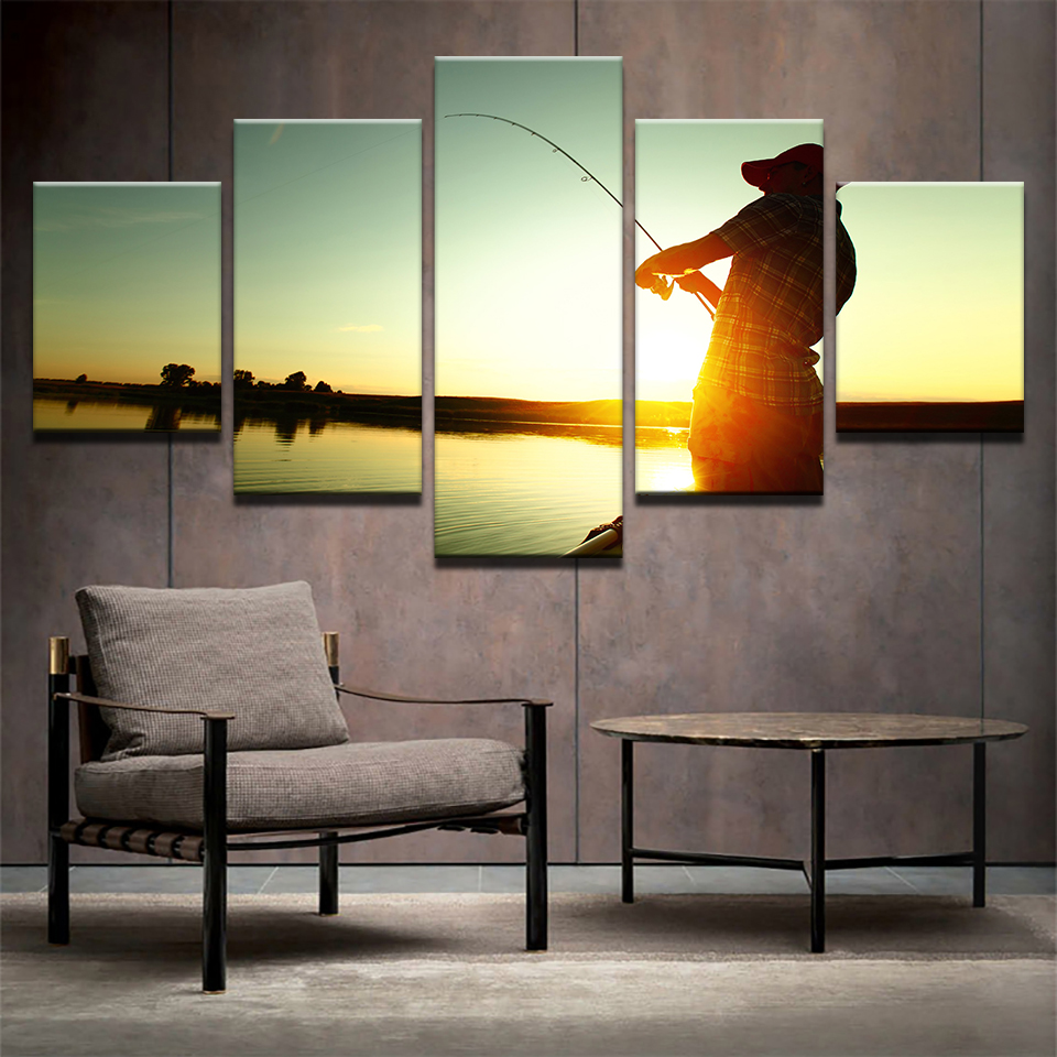 Modern Painting Frame Art 5 Panel Fishing Poster Wall Modular Sunset Picture Home Decor Rob Print On Canvas For Living Room