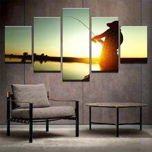 moderne malerei rahmen kunst 5 panel angeln poster wand modulare sonnenuntergangbild wohnkultur rob druck auf leinwand fr wohnz - Bild Wohnzimmer Erschrecken