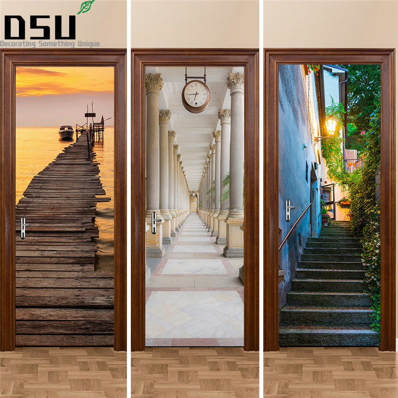 3D Door Stickers 2pcs/set 200*77cm Decals Self AdhesivePoster PVC Waterproof Wall Sticker for Bedroom Hotel Saloon Home Decor