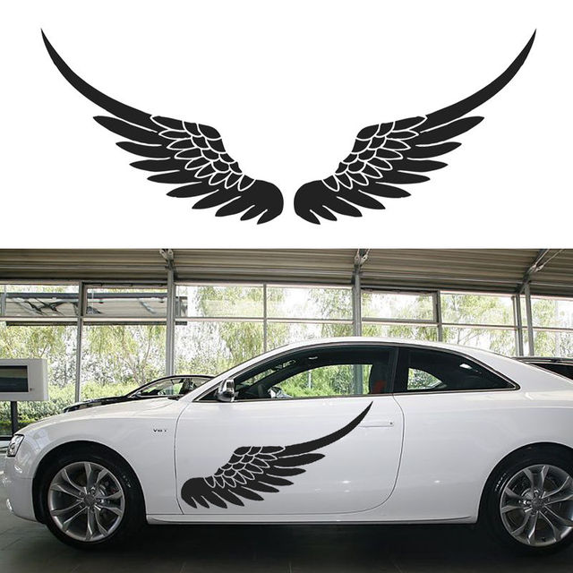 Big size car vinyl decal sticker door body stickers side decals angel wing birds feather black