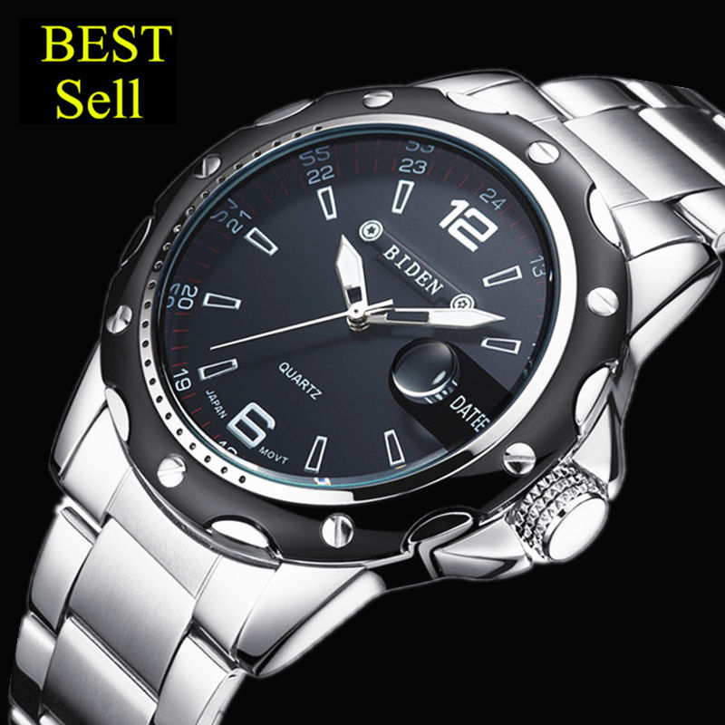 Prix pour BIDEN chaude montres hommes marque de luxe 0012 horloge reloj relogio masculino militaire quartz complet en acier inoxydable hommes montre-bracelet