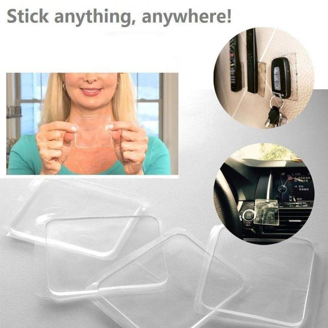 5 Pcs Clear Grip Sticky Anti Slip Pads Kitchen Car Holder Super Easy Gripping Pad Home Reusable Mat Sticker for Keys Phones #M