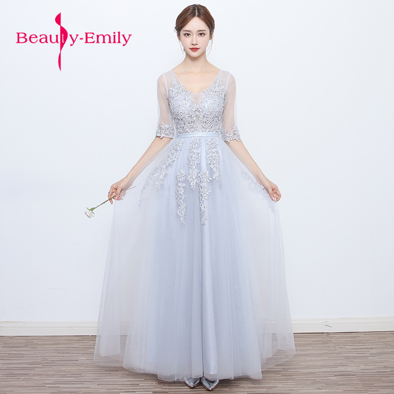 Beauty Emily Sexy V-neck Evening Dress 2018 High Quality Grey Tulle With Applique Evening Dresses Real Photo Vestido De Festa