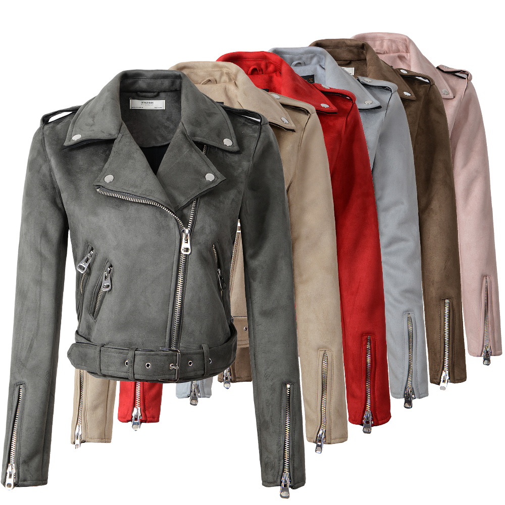2018 New Arrial Women Autumn Winter Suede Faux Leather Jackets Lady Fashion Matte Motorcycle Coat Biker Gray Pink Beige Outwear