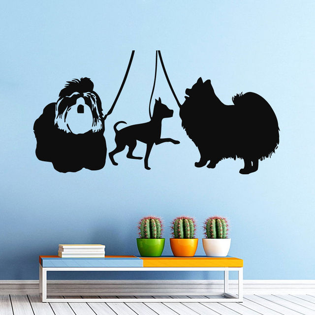 Wall decal dogs at the exhibition pets animals vinyl sticker pet shop decor