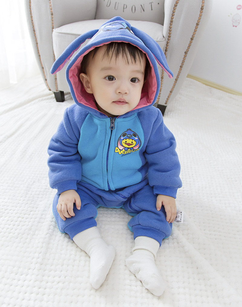 Fashion Winter Baby Clothes Infant Romper Baby Boys Girls Jumpsuit Newborn Bebe Clothing Hooded Toddler Cute Stitch Baby Costume