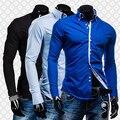 Men's Fashion Luxury Slim Fit Long Sleeve Casual Dress Shirts Blouse Tops Tee H8Q78Q