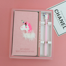 Pink Creative Gift Girl Notebook Unicorn Cover Note Book Student Stationery Set + Gel Pen