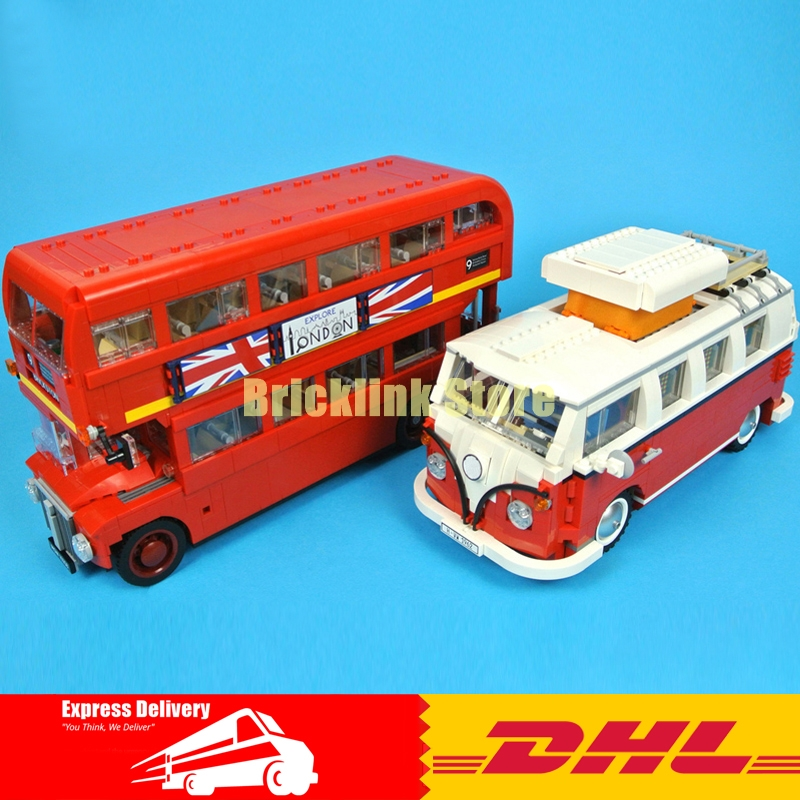 LEPIN Technic Series 21001 Volkswagen T1 Camper Van +21045 London Bus Building Blocks Bricks Toys 10220 10258