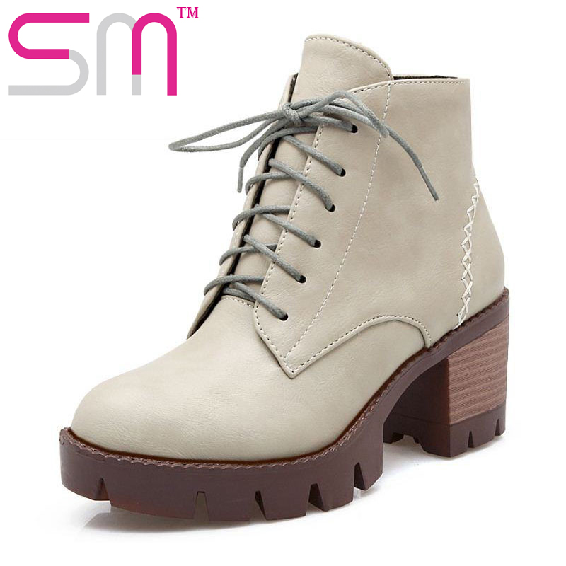Size 34 43 Casual Style Lace up Ankle Boots Square Med Heels Thick Platform Shoes font