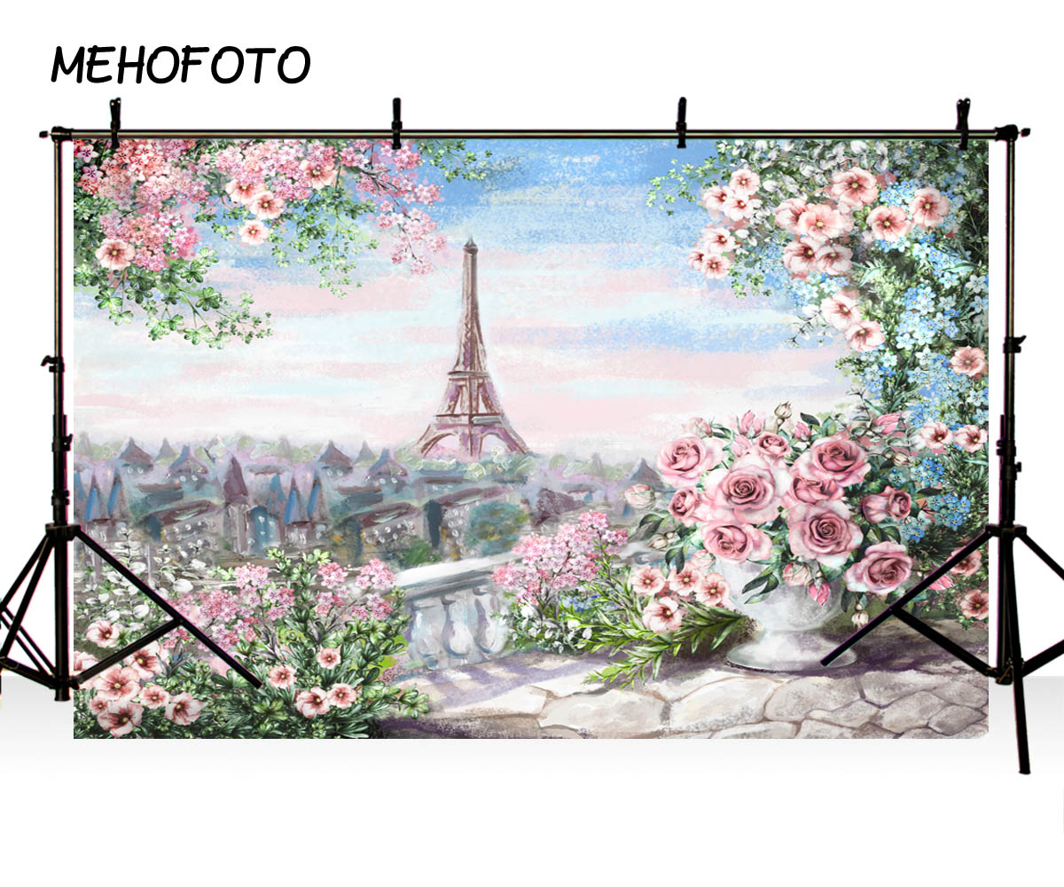 MEHOFOTO Vinyl Photographic Backdrop Floral Oil Printed Eiffel Tower Pink Rose European Castle Children Backgrounds Photo Pro image