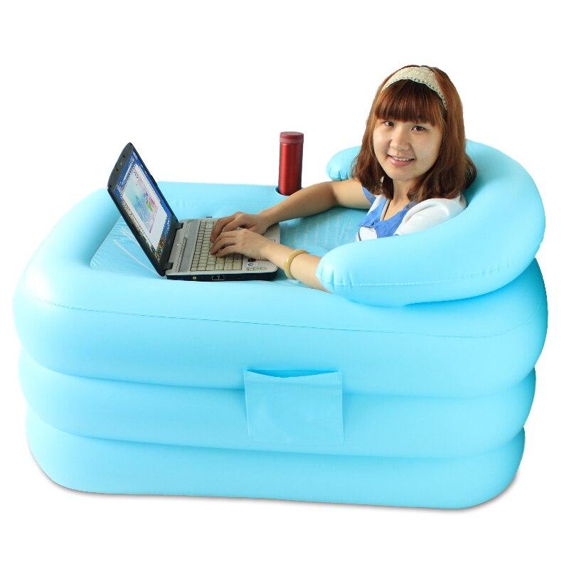 Beautiful Heat Preservation Thickening Folding Inflatable Bathtub Tub Bath Bucket  115x80x50cm(China)