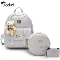 3PCS Set Women Zipper And Hasp Leather Backpack With Bear Cute Travel Backpacks School Bags For