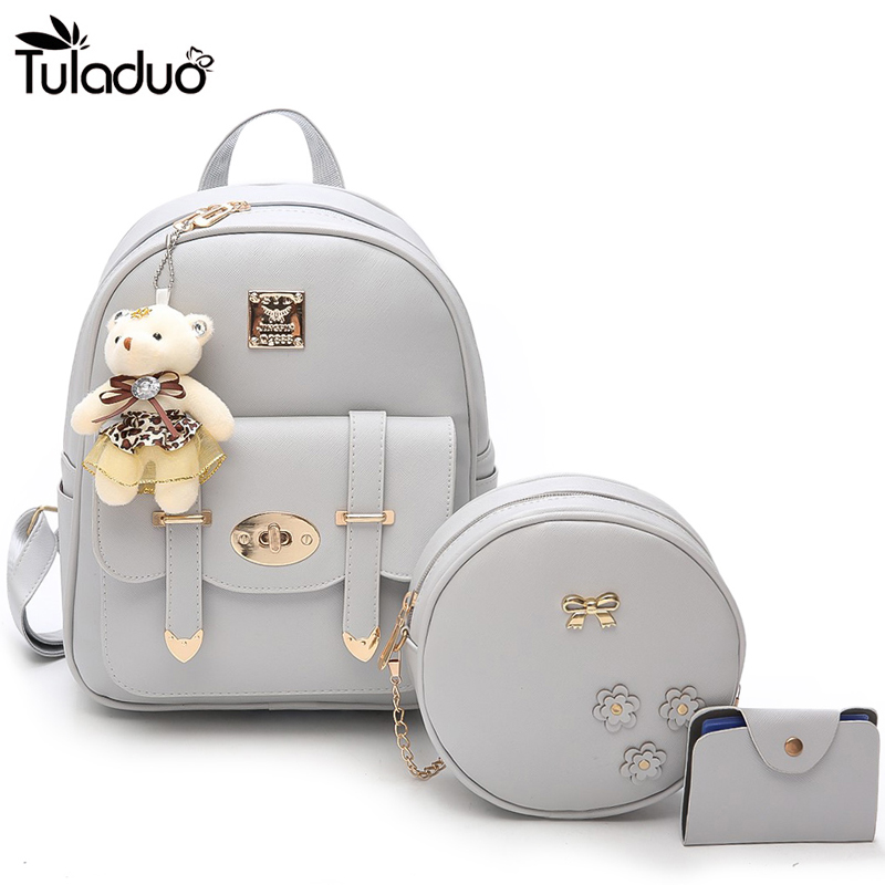 3PCS/set Women Zipper And Hasp Leather Backpack With Bear Cute Travel Backpacks School Bags For Teenagers Laptop Shoulder Bags new gravity falls backpack casual backpacks teenagers school bag men women s student school bags travel shoulder bag laptop bags