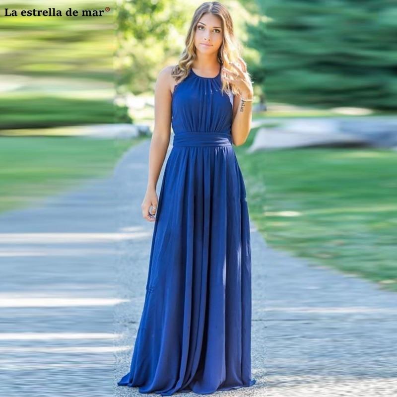 Wedding guest   dress   new O-Neck lace chiffon back A line royal blue   bridesmaid     dress   Floor-Length vestidos de madrinha