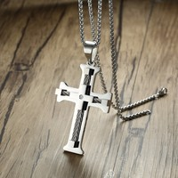 Men S Large Silver Tone Cross Cable CZ Inlay Pendant Necklace For Men Stainless Steel Male