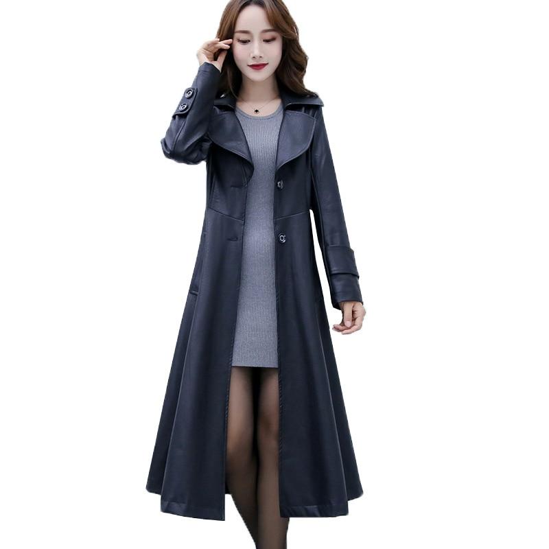 Fashion Faux Leather Coat Women Plus Size XL-6XL Long Jackets PU Leather Windbreaker Female Slim Black Leather Outerwear G156