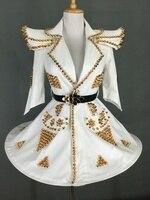 Атмосферная юбка американка Наплечная подкладка заклепки белый наряд костюм платье певец танцевальный костюм для выступлений костюм наря