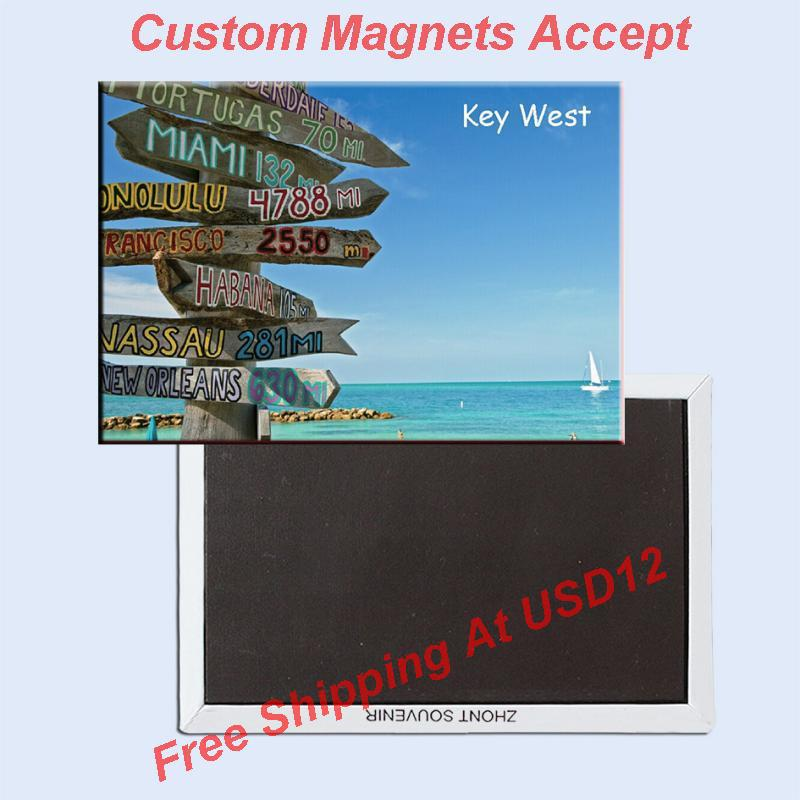 Key West Travel USA Imanes de viaje Regalos 78 * 54mm Imán de nevera de recuerdo de Estados Unidos 20016