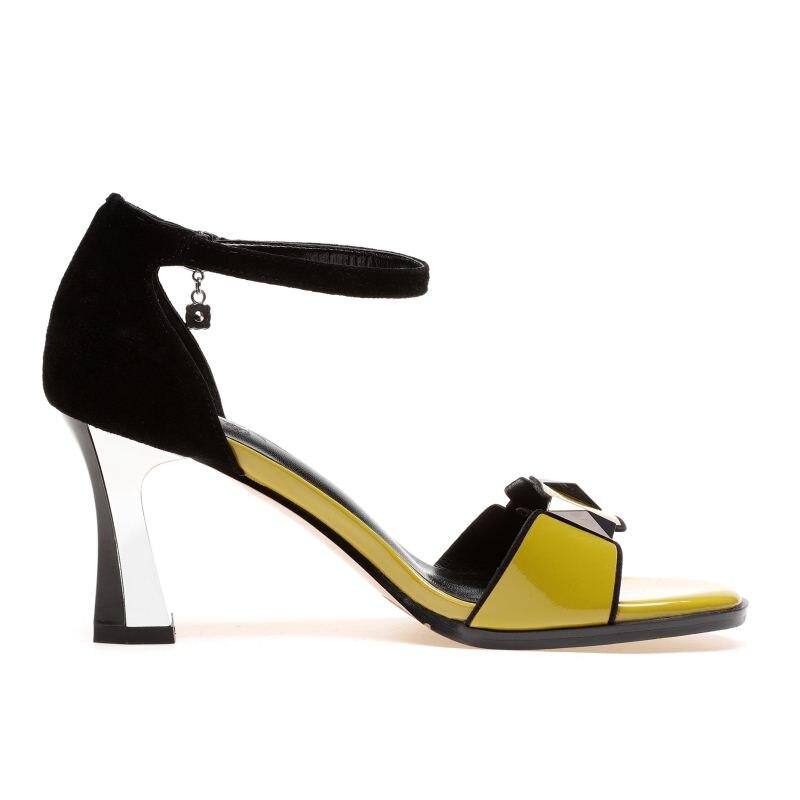 3340 Qualité Haute Party Club jaune En À Sandales D'été Femmes Cheville Chaussures Blanc Kemekiss Fashion Cuir Véritable Strap Hauts Taille Talons EQrdeCoBxW