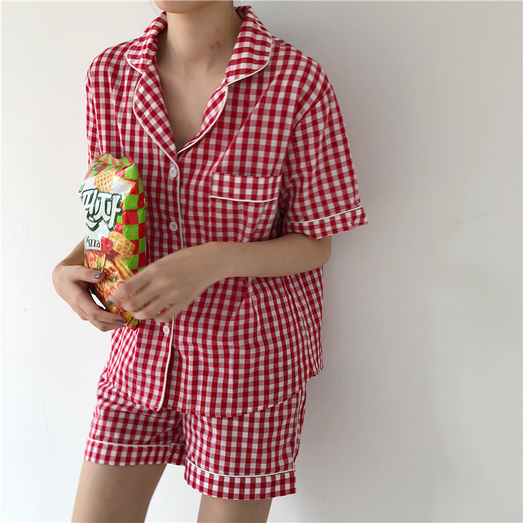 Korea Summer Women simple casual plaid comfort plus size pajamas Home Wear Cotton Harajuku vadim onesize Two Piece Set