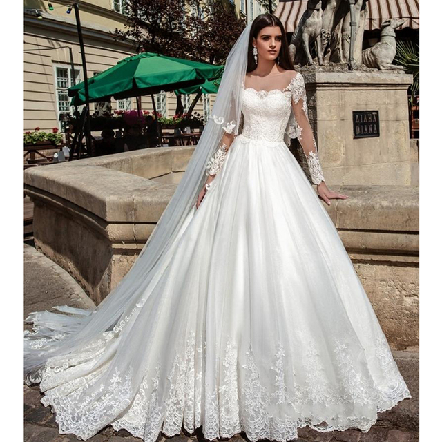 Illusion Long Sleeves Pretty Wedding Dresses Ball Gown Romantic Sheer Scoop  Neck Ivory Princess Lace Bridal Dress Custom Made 424bd2f86c06