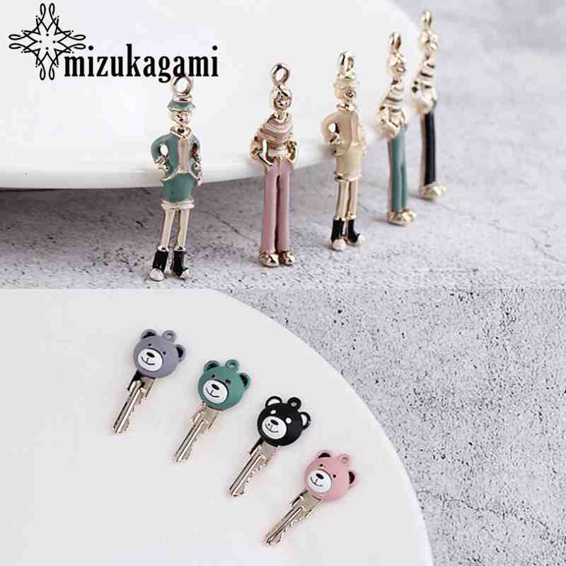 Alloy Retro Rubber Color Charms Cartoon Bear Keys 10pcs/lot For DIY Fashion Earrings Jewelry Making Accessories