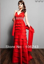 free shipping Maxi dresses 2014 bride dress vestidos formales long red weddings plus size formal evening gown evening dresses