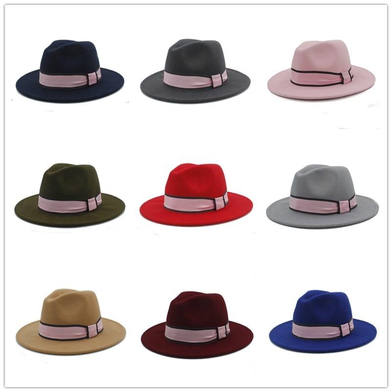 afd7744167 Women Wool Felt Fedora Hat For Elegant Lady Winter Autumn Chapeu Feminino  Panama Caps Size 56