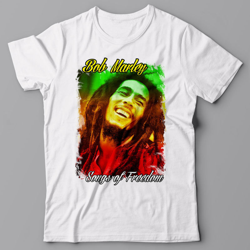 Print O-neck Funny Graphic T-shirt Bob Marley - Songs Of Freedom Summer Style T Shirt Men