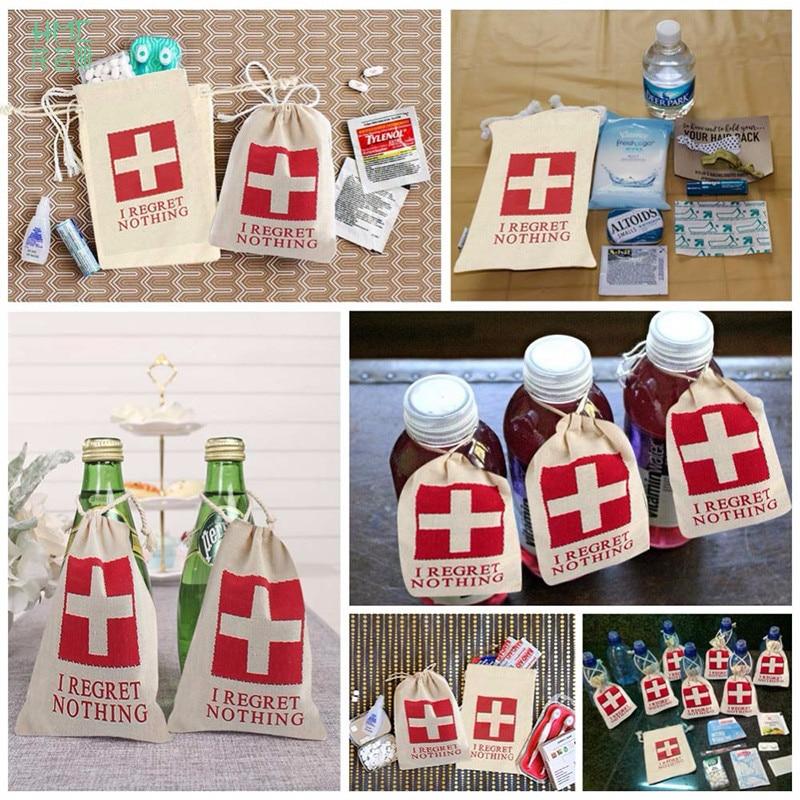 10pcs 10x14cm Funny Wedding Hangover Kit Bags Cotton Wedding Bag Bachelorette Party Decorations Event Party Supplies