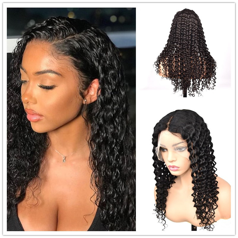 Transparent Full Lace Human Hair Wigs Preplucked With Baby Hair Deep Wave Wavy Remy Glueless 13x6 Front Lace Wig For Women Black(China)