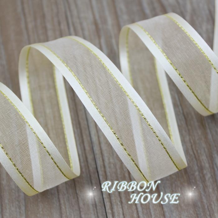 25 мм кремовый белый заглушка золотой край органза ленты оптовая продажа подарочная упаковка украшения ленты