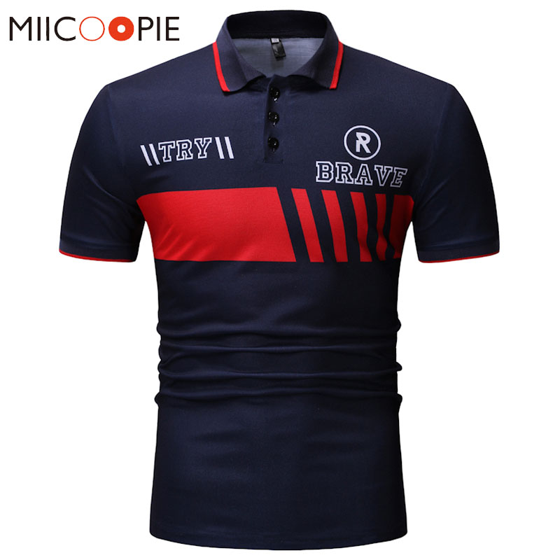 New 2018   Polo   Homme Men's Shirt Letter Printed Short Sleeve   Polos   Para Hombre Summer Breathable Solid Men   Polo   Shirt